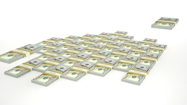 100 USD stacks fall into pyramid