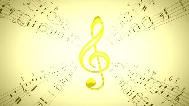 Forgó hegedű clef  zenei lapok, hurok