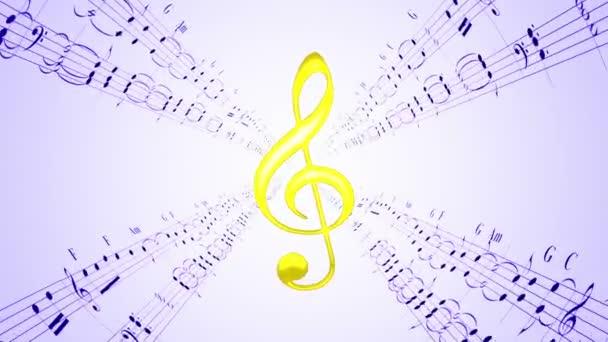 Forgó hegedű clef  kék zenei lapok, hurok