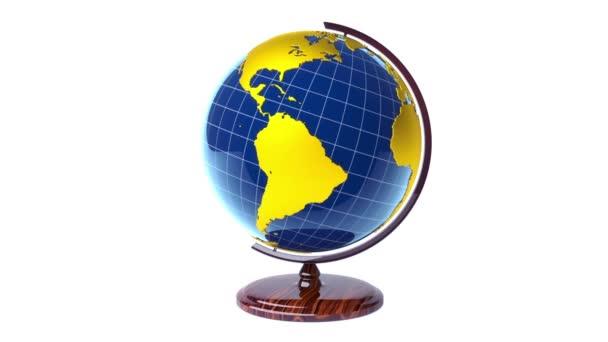 Colorful model of Earth globe rotating, loop