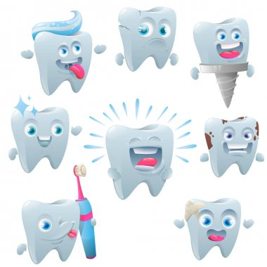 Cute tooth character set care. Cute teeth with different emotions set for label design. Cracked, broken, healthy white yellow diseased tooth denture on the implant, braces. Vector illustration icon