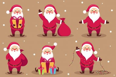 Variety of santa claus. Cartoon Santa Claus different expressions. Set of funny cartoon characters with different emotions and New Year items. Vector illlustration icon