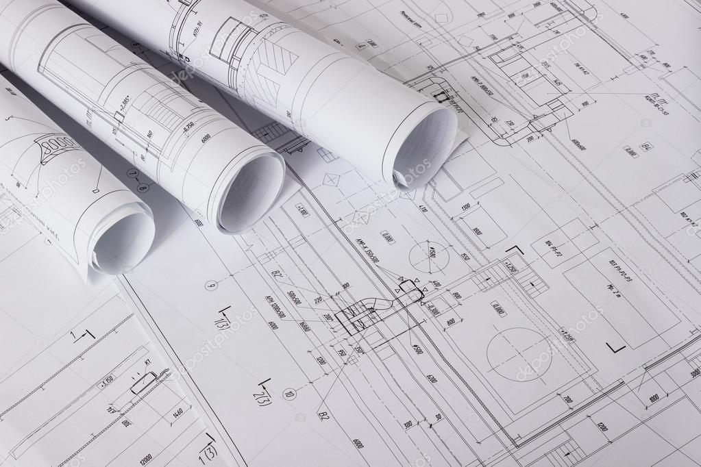 Architectural blueprints and blueprint rolls stock photo vipmen architectural blueprints and blueprint rolls stock photo malvernweather Choice Image