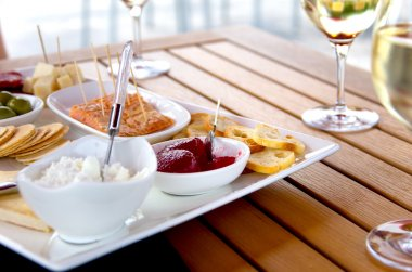Wine and Cheese on Patio Table
