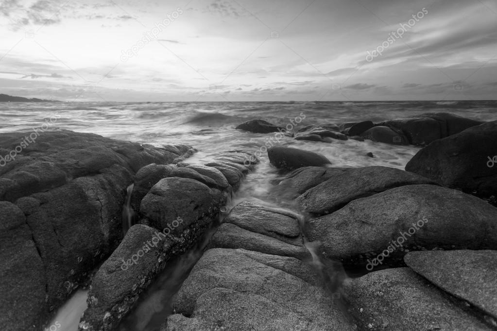 Beautiful Sunset At The Stone Beach In Black And White Photo By Narathip