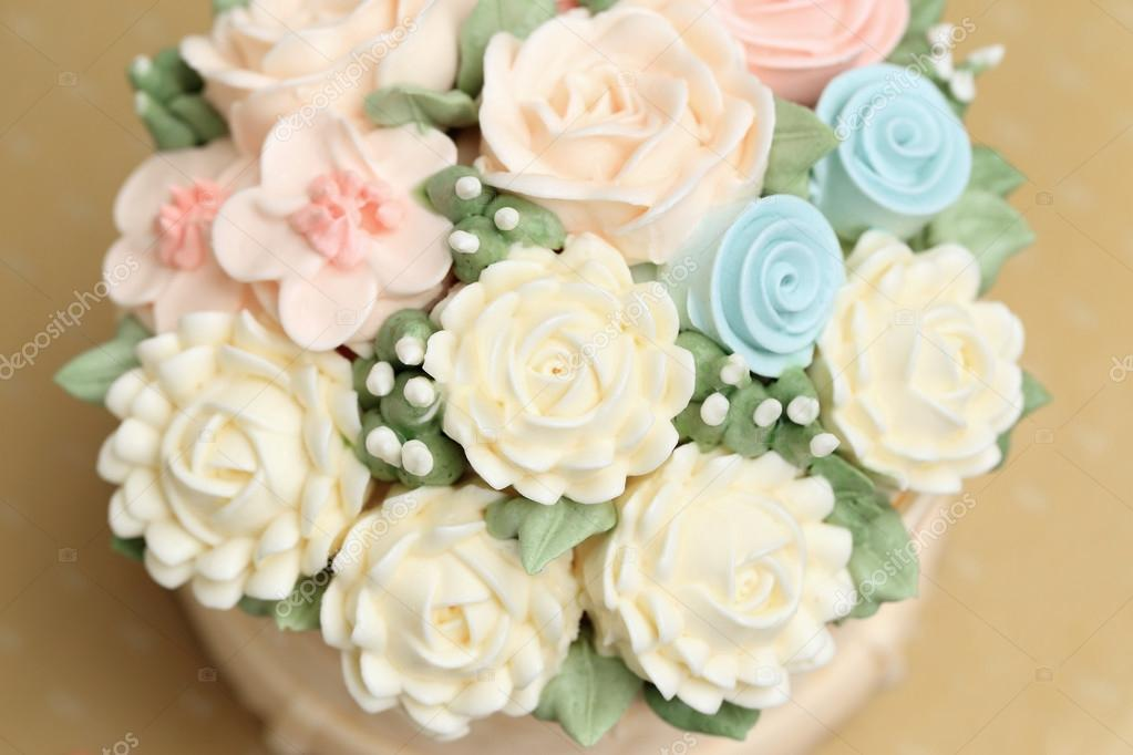 Wedding Or Birthday Cake Decorated With Flowers Made From Cream Stock Photo