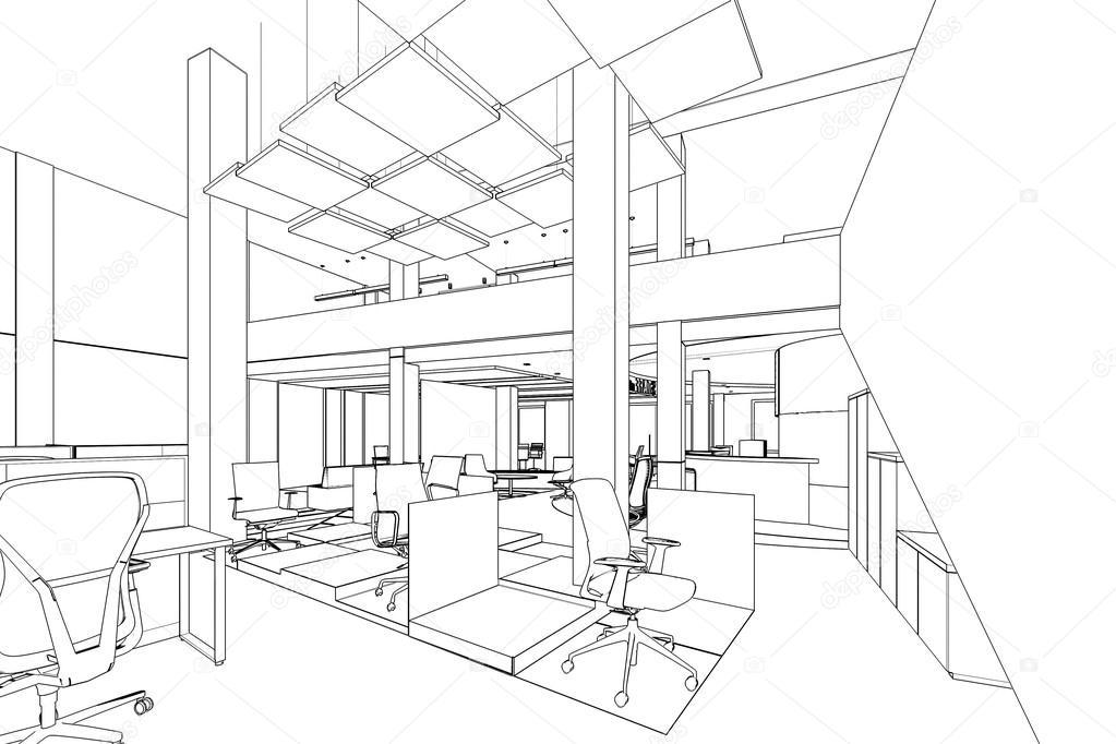Esbo o de contorno de uma rea de escrit rio interior for Dibujo de una oficina moderna