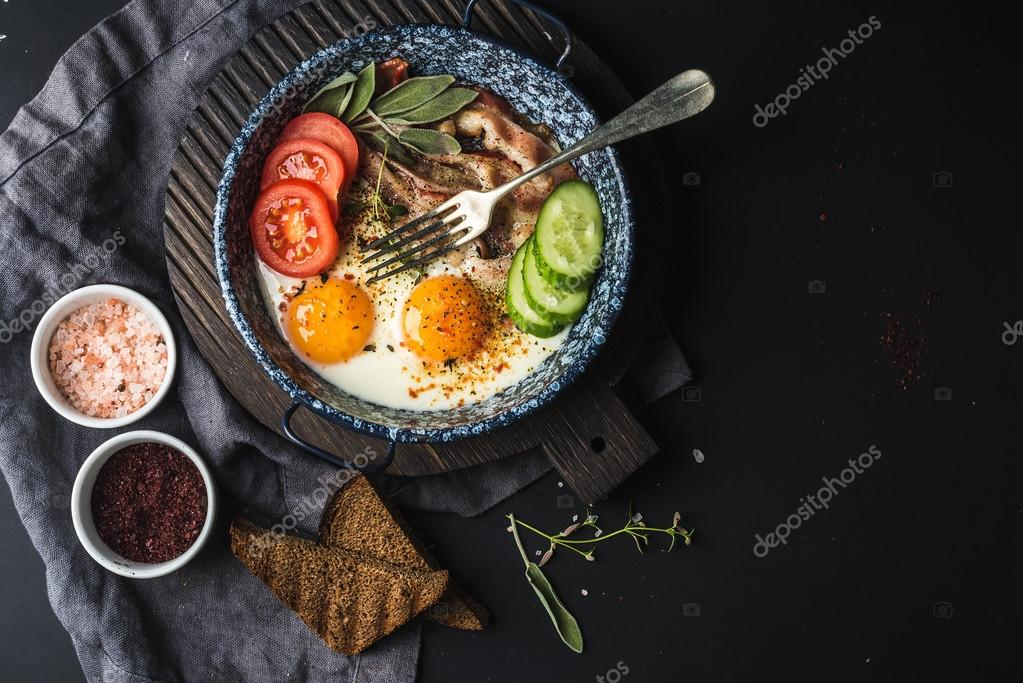 Pan of fried eggs with bacon