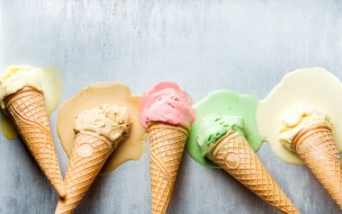 ice cream cones of different flavors