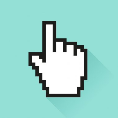 Set of social media icon. Pixel cursor hand.