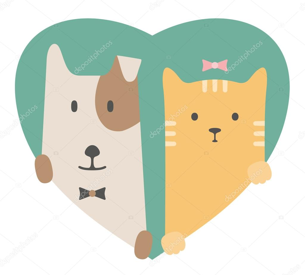 Animal set. Portrait of a dog and cat in love over heart backdrop