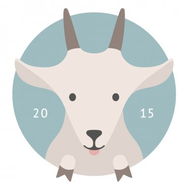 Animal set. Portrait in flat graphics - Goat