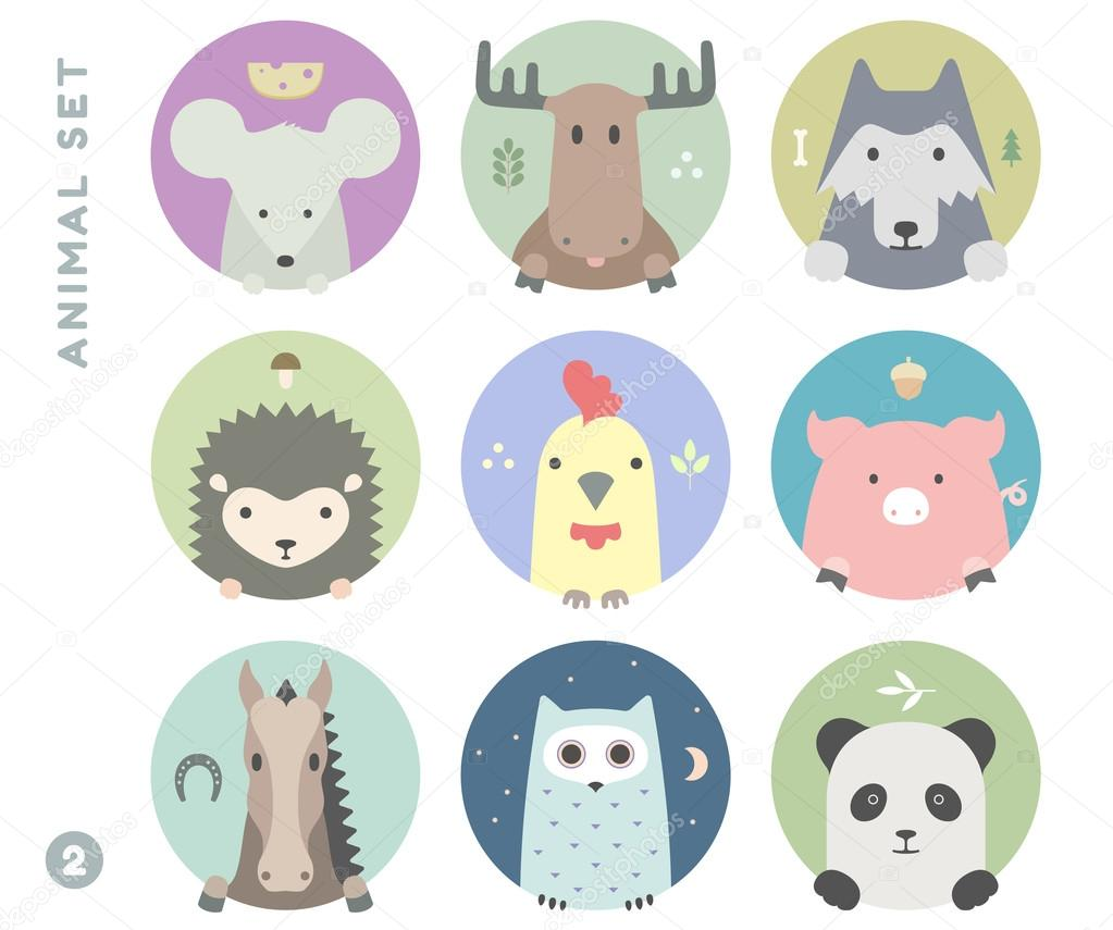 Animal set of colorful portrait in flat graphics. Vector Illustration.