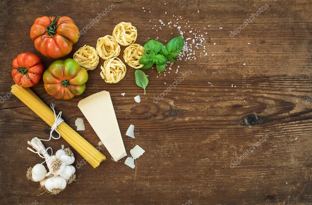 Ingredients for cooking pasta.