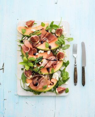 Prosciutto, melon, fig and soft cheese salad