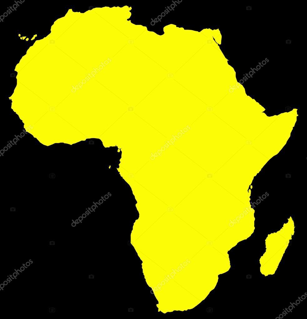 africa yellow map on black stock vector davidscar 65548307