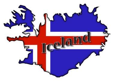Iceland Flag On Map