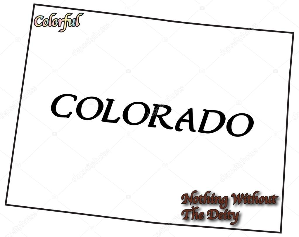 A Colorado State Outline With Motto And Slogan Isolated On A White  Background U2014 Vector By Davidscar