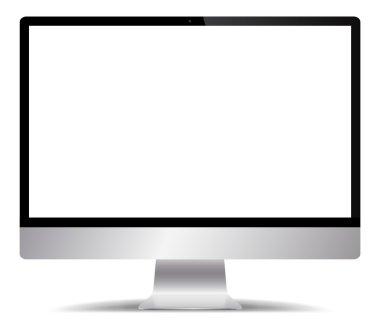 Realistic Silver Computer Screen