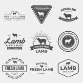 Photo set of premium lamb labels, badges