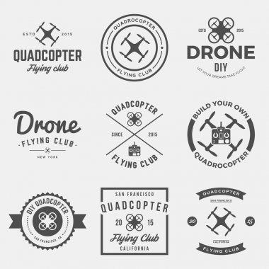 set of drone flying club labels, badges