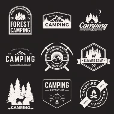 set of camping and outdoor adventure logos