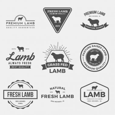 set of premium lamb labels, badges
