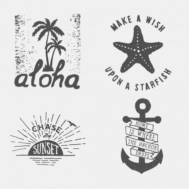 Set of summer hand drawn posters