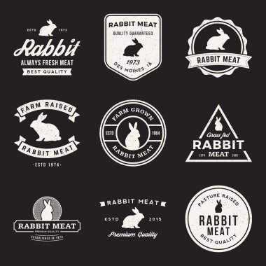 set of premium rabbit meat labels