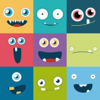 Cartoon monster faces set