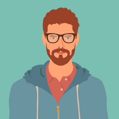 Flat hipster character