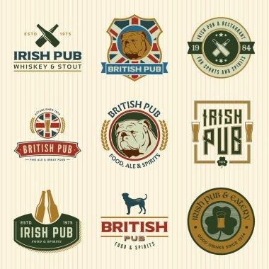 set of irish and british pub labels