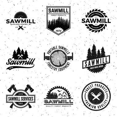 set of sawmill labels, badges