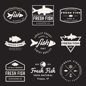 Vektor-Reihe von Frischfisch-Etiketten