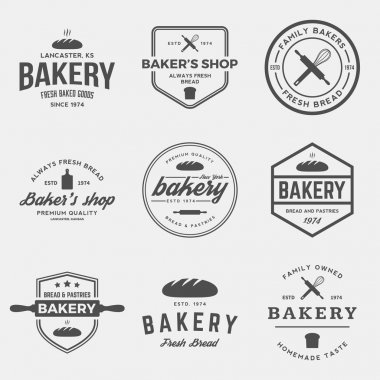 Vector set of bakery labels