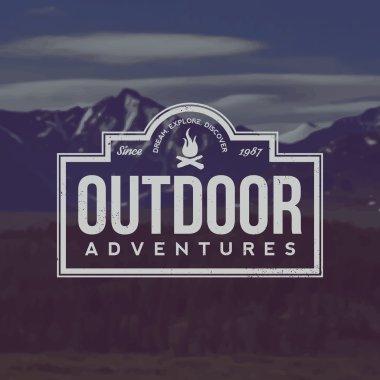 vector outdoor adventures emblem. outdoor activity symbol with g