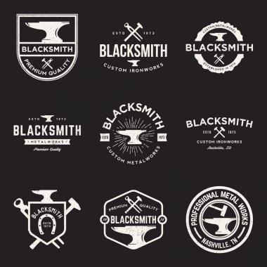 Vector set of blacksmith vintage logos