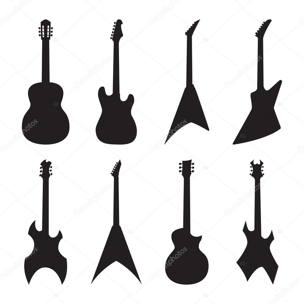 acoustic and electric guitar silhouettes set stock vector