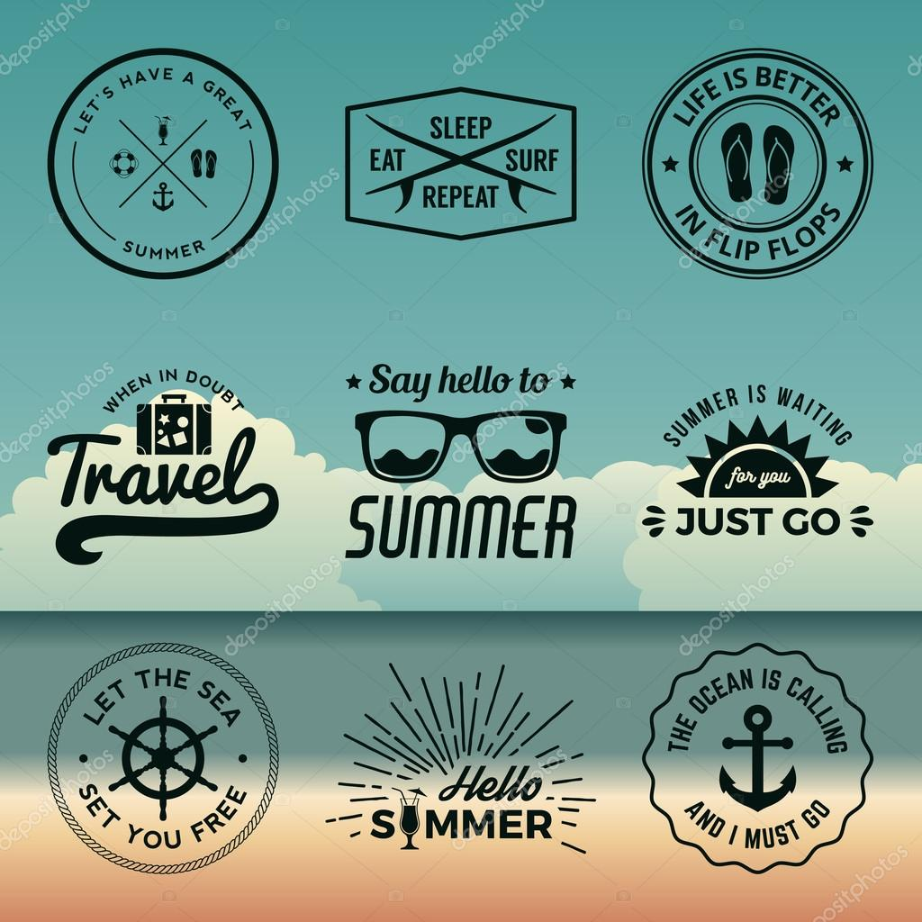 vector set of summer quotes, emblems and design elements on beac