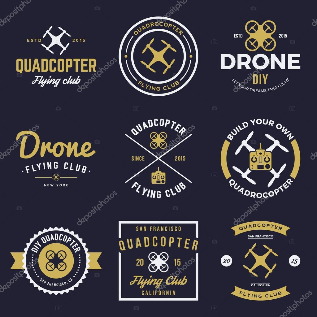 Vector set of drone flying club labels