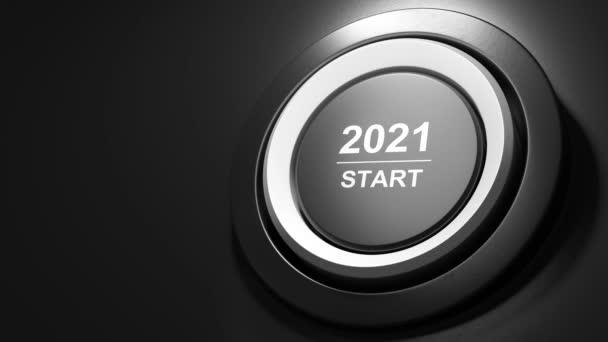 2021 - Nyomja meg a start gombot. Az új év koncepciója. 3D videó