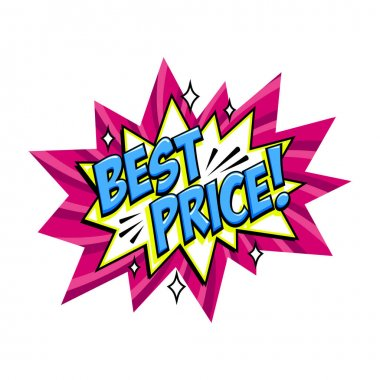 Best price Comic pink sale bang balloon - Pop art style discount promotion banner. Vector illustration. icon