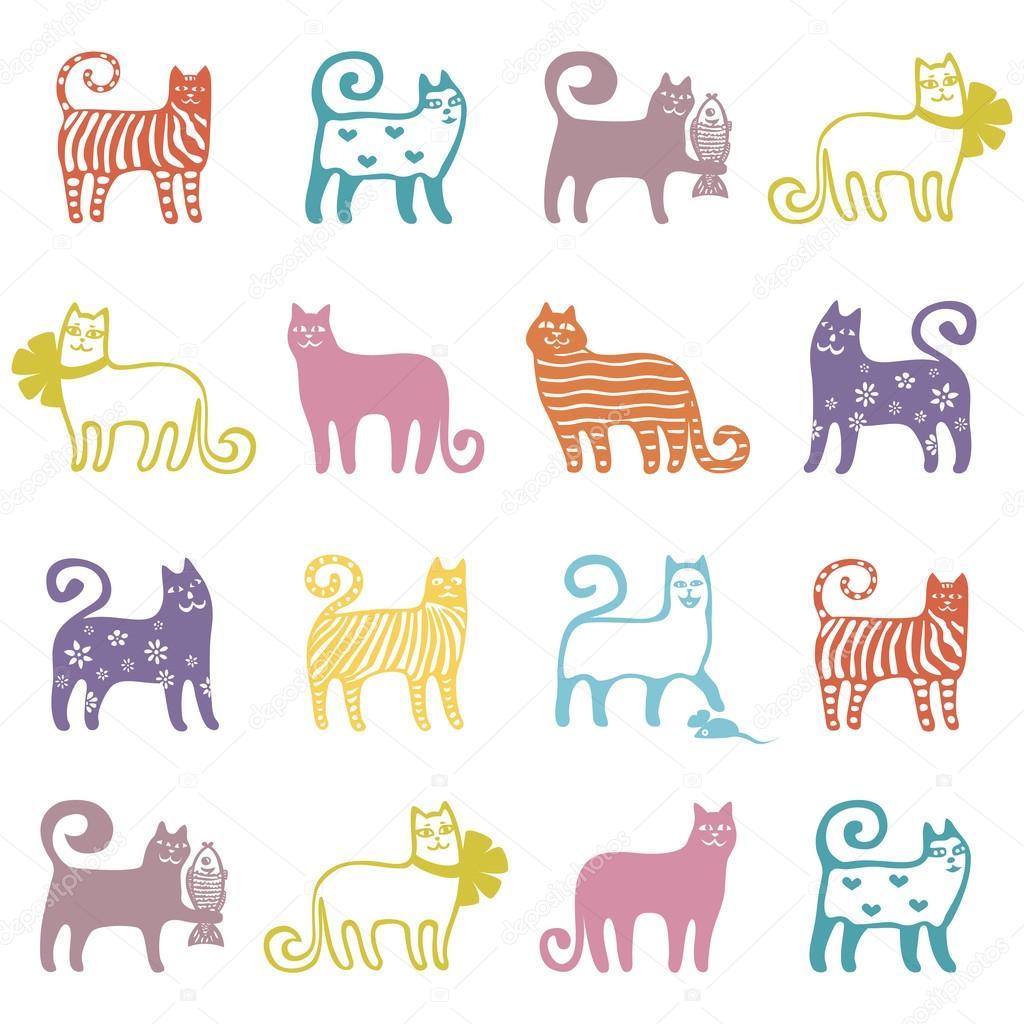 Ilustración de vector de patrón sin costuras lindo gato — Archivo ...