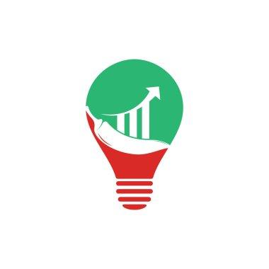 Chili finance bulb shape concept logo design. Stats Chili logo design vector template. Red Chili Symbol Icon icon