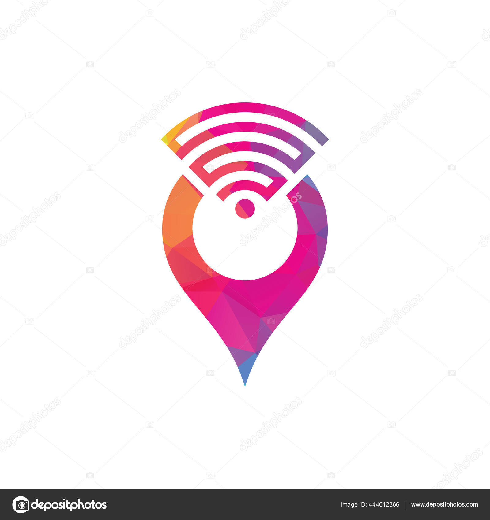 Kartenstift mit Wifi Signal Logo Symbol Design Vektor. 10