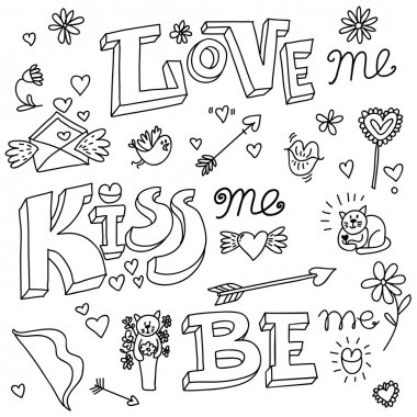Valentines day kiss love doodle vector