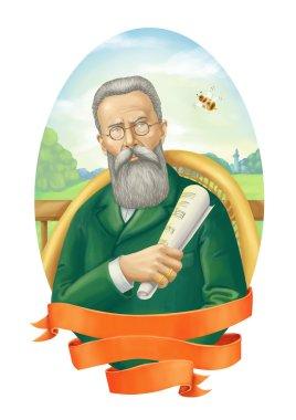 Nikolai Rimsky-Korsakov portrait illustration digital painting