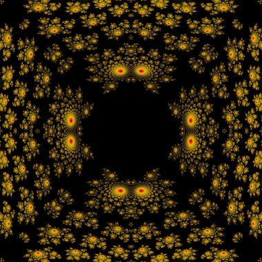 Abstract seamless yellow black fractal pattern reminiscent of demon heads with glowing eyes