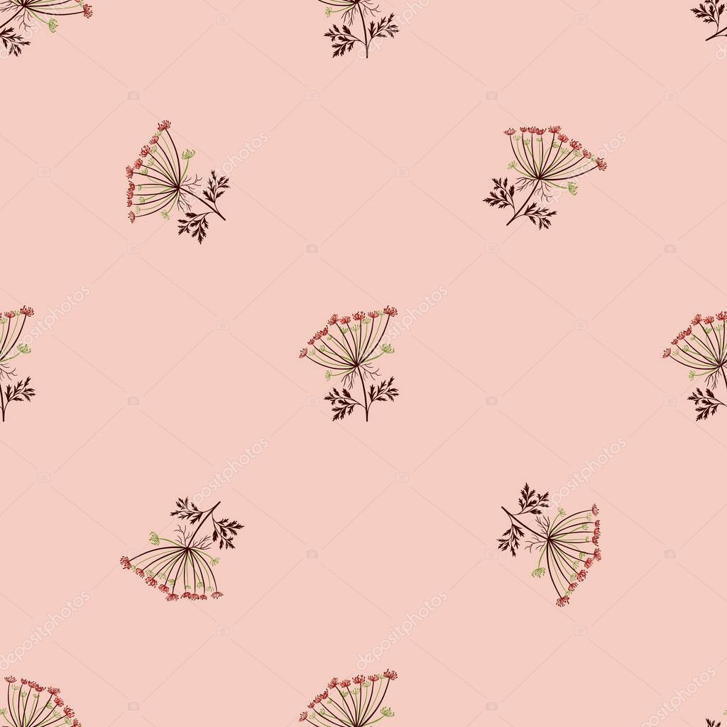 ✓ Seamless floral pattern with little yarrow cute silhouettes ...
