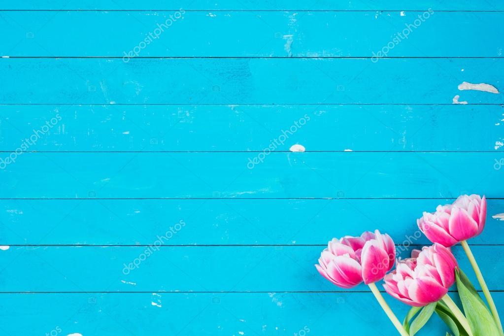 Fondo De Madera Vintage Con Flores Blancas Manzana Y: Vintage Fondo De Madera Azul Con Flores Rosas
